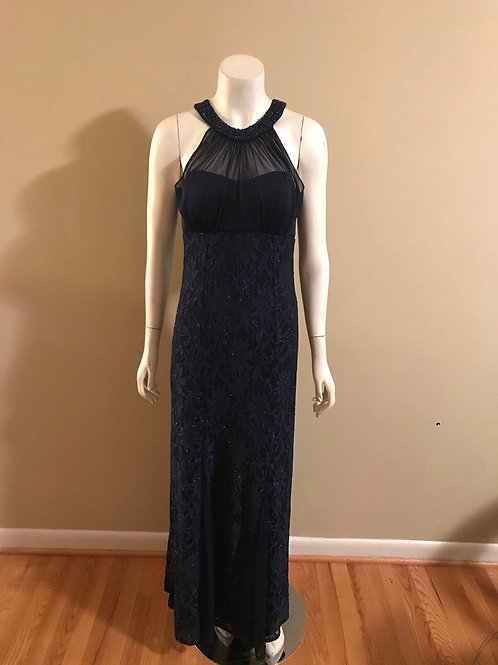 NW Nightway Blue Halter Back Formal Gown