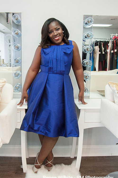 Eva Franco Blue Short Cocktail Dress with Bow Front