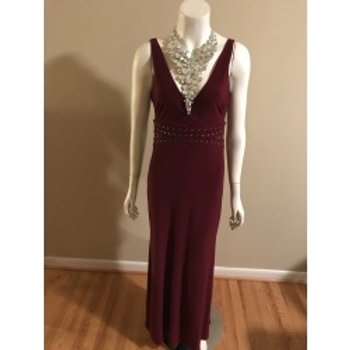 Laundry Burgundy Long Evening Gown with Rhinestone waist
