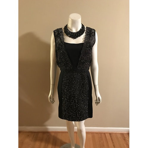 French Connection Black Short Sequin Top Dress