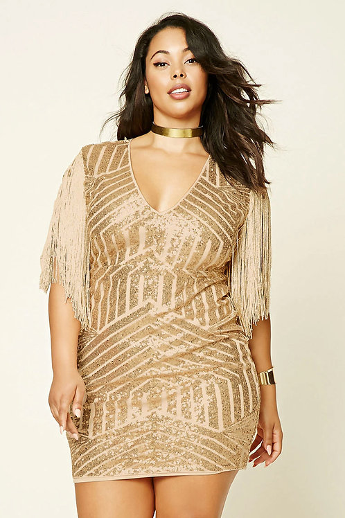 Forever 21 Short Gold Cocktail Dress with Fringes Sleeves