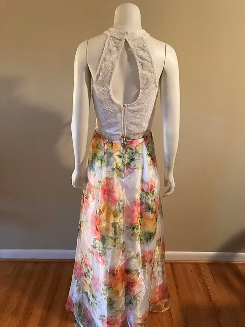 City Studio 2 Piece Multi Color Skirt with White Lace Top