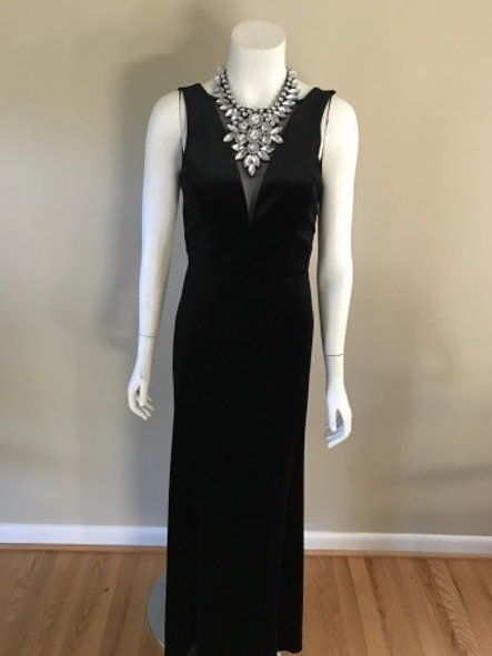 NW Nightway Long Black Short Sleeve Velvet Gown