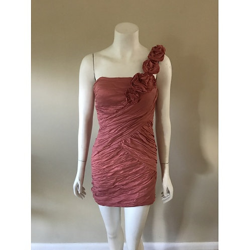 BCBGMaxazria Short Pink One Rose Pedal Shoulder Formal Dress