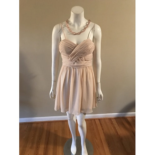 Steppin Out Short Cream Mesh Middle Cocktail Dress