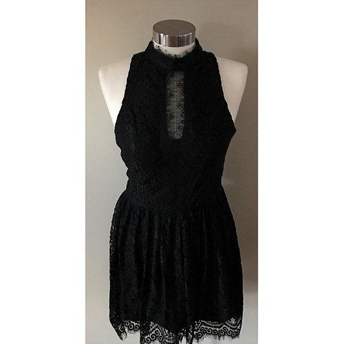 Trixxi Black Lace Front Button Lace Back