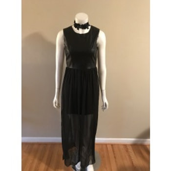 Soprano Black Long Faux Leather Upper Gown