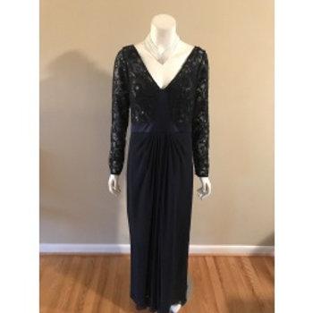 Ralph Lauren Long Navy Blue Evening Gown with Sequin Top