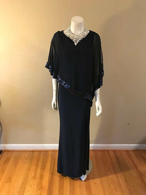 Xscape Navy Blue Formal Gown with Sequin Cape