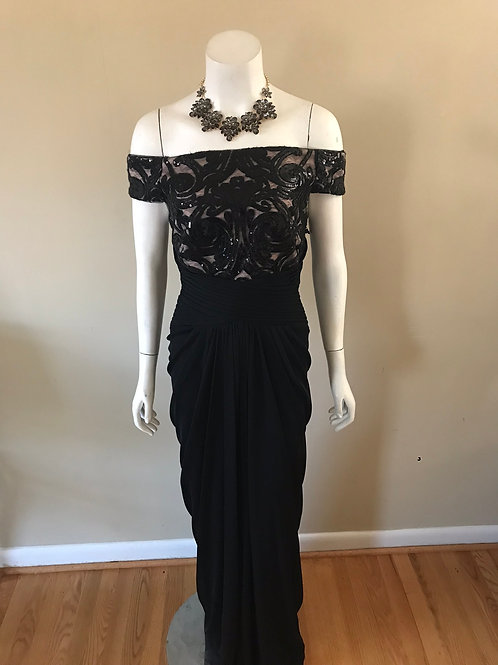 Adrianna Papell Black Off the Shoulder Gown