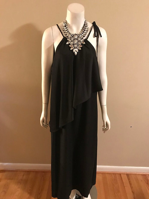 Halston Heritage Long Black Tie Neck Dress