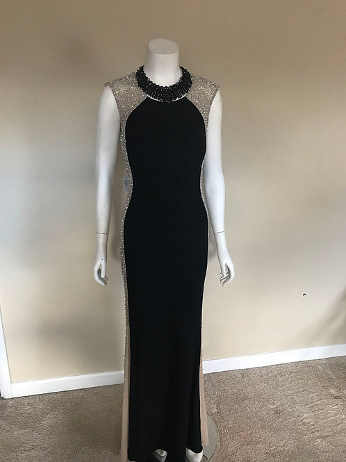 Xscape Black Gown w/ Sequin Sides