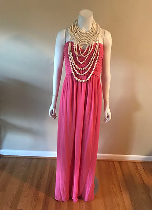 Donna Morgan Strapless Long Pink Dress