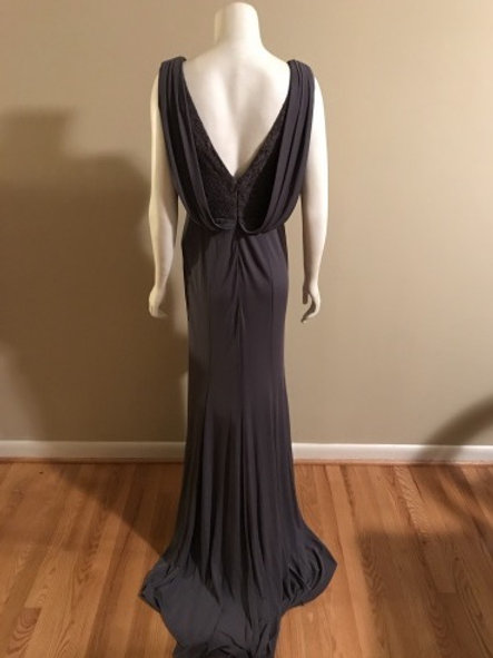 Vera Wang Grey Long Evening Gown with Sequin Top