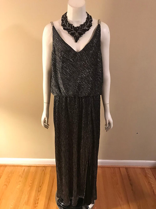 R&M Richards Long Silver and Black Gown with Rhinestone straps