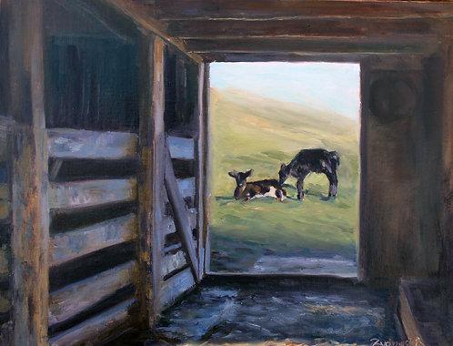Through The Barn Door 11x14