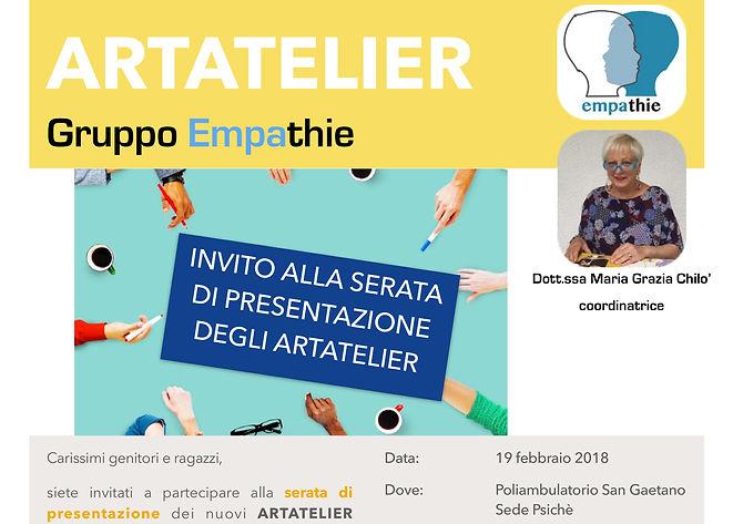 Invito serata presentazione ARTATELIER m