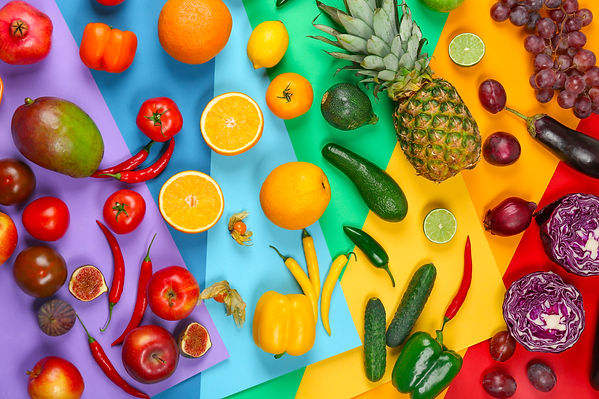 Many different fruits and vegetables on