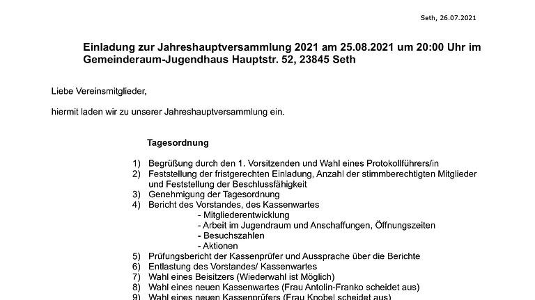 Einladung zur Jahreshauptversammlung 2021 am 25.08.2021 um 20:00 Uhr im  Gemeinderaum-Jugendhaus Hauptstr. 52