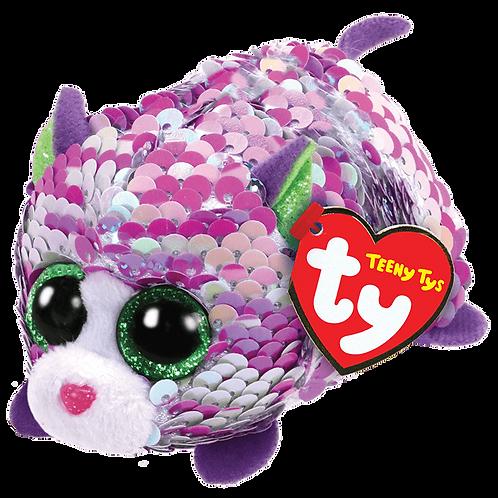 TY - Lilac Sequin Purple Cat - Teeny Tys
