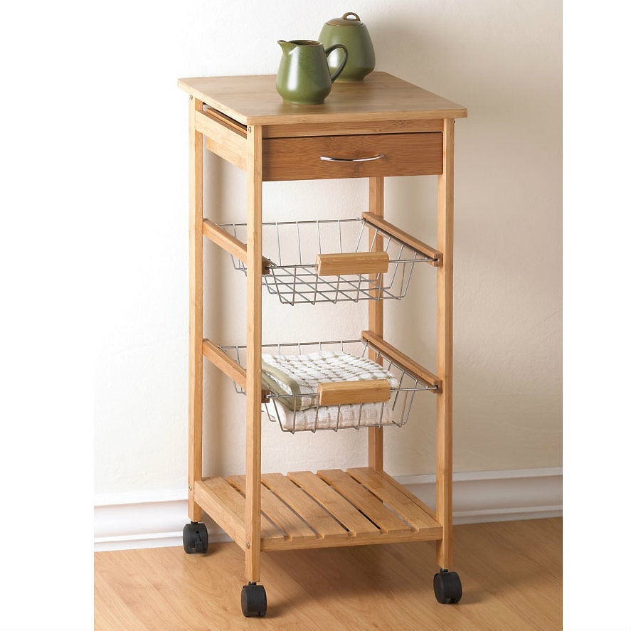 A Rolling Cart With Extra Work Space On Top, Perfect For Kitchen, Work  Room, Or Craft Room. Functional Simplicity With Solid Bamboo Top, Two Wire  Baskets, ...