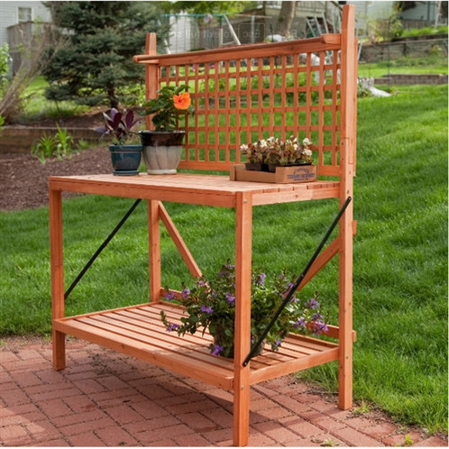 Create The Ideal Place To Get Creative With Your Favorite Plants And  Flowers With This Folding Wood Potting Bench Outdoor Bakers Rack With  Shelves.