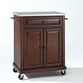 Constructed Of Solid Hardwood And Wood Veneers, This Portable Stainless  Steel Top Kitchen Cart Island In Vintage Mahogany Is Designed For Longevity.