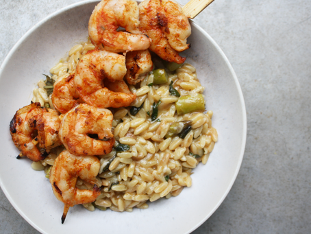 Asparagus and Herb Orzo w/Grilled Shrimp