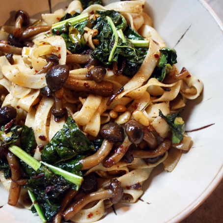 Rallenti Gluten-Free Fettuccine Pasta Tossed in a Mushroom and Brown Butter Sauce.