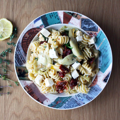 Mediterranean Radiatori Pasta with Sun-Dried Tomato, Artichoke Hearts, and Feta