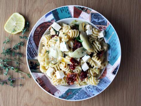 Mediterranean Radiatori Pasta with Sun-Dried Tomato, Artichoke Hearts, and Feta
