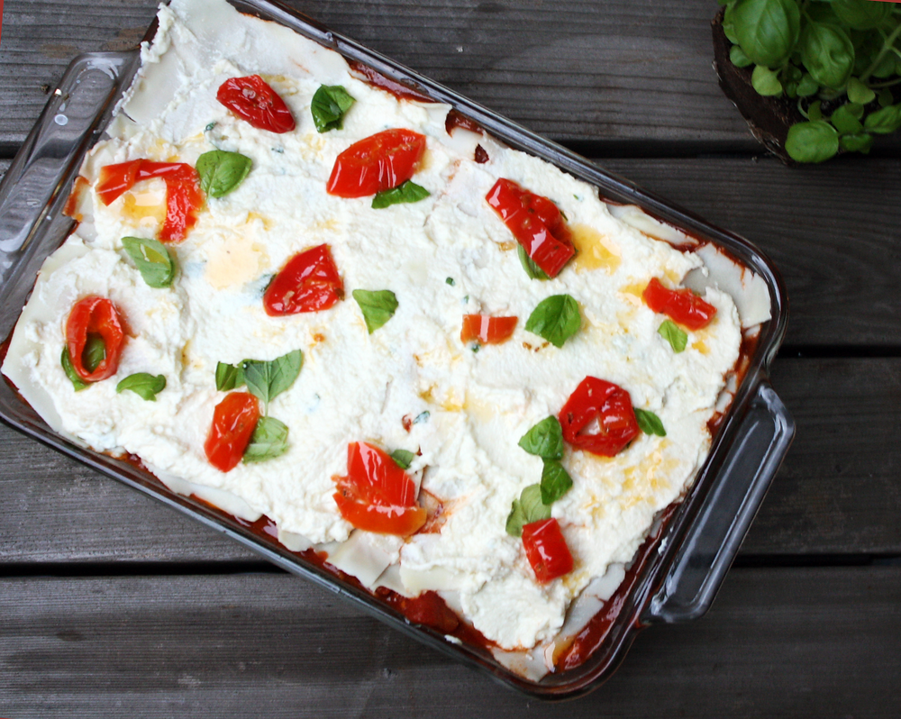 a 13x9 pan of Mama Lil's Peppers Lasagna with Gluten-Free Lasagna Sheets