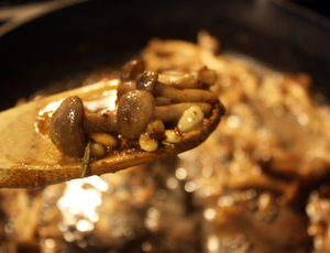 Mushroom and Pine Nuts in a Brown Butter Sauce