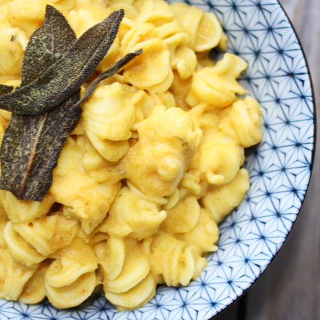 Gluten-free Dairy-Free Butternut Squash Mac n Cheese with Fried Sage