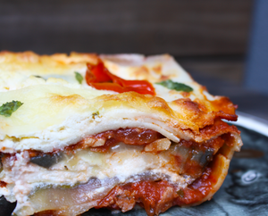 A cooked slice of Mama Lil's Peppers Lasagna with Gluten-Free Lasagna Sheets