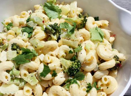 Curvy Macaroni Salad with Roasted Broccoli