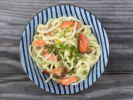 Gluten-Free Lemon and Dill Spaghetti with Capers and Smoked Salmon