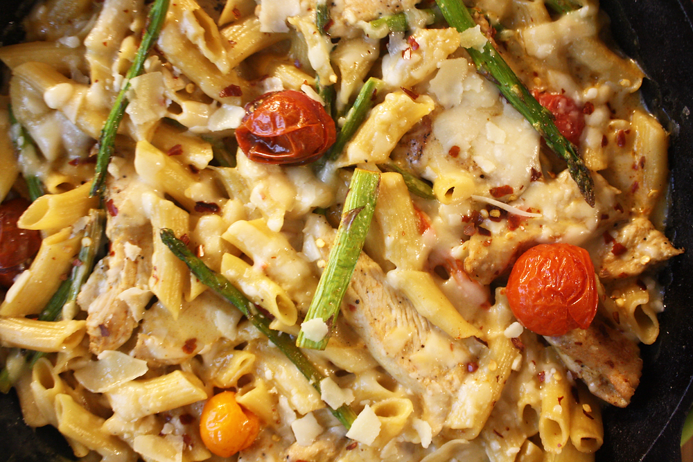 Creamy Chicken Penne with Blistered Tomatoes