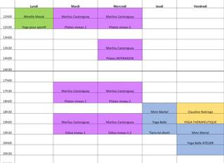 Détails et horaire des cours Session automne