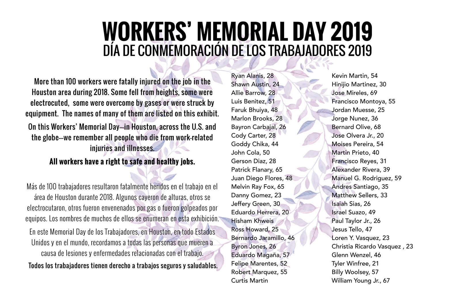 Workers' Memorial Day 2019
