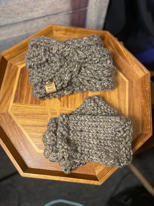 barley earwarmer & fingerless gloves