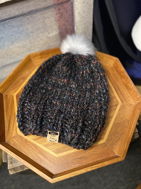multi colored slouchy beanie w/pom