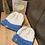 Thumbnail: cream & sky blue slouchy beanie set