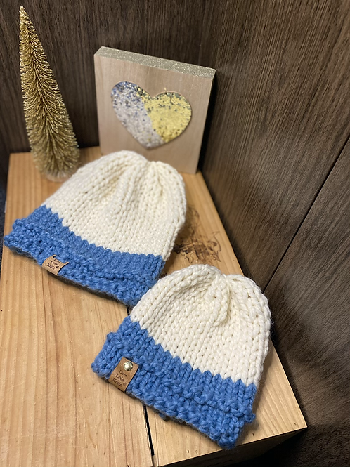 cream & sky blue slouchy beanie set