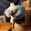 Thumbnail: slate & sky blue slouchy beanie w/pom