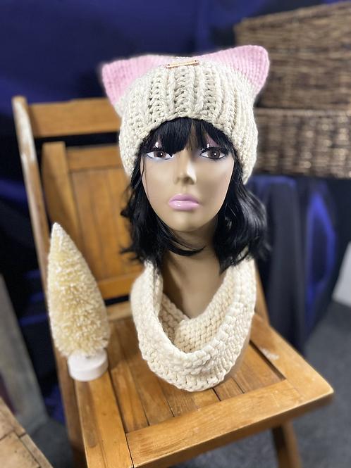 pink/oatmeal cat hat & cream mini cowl