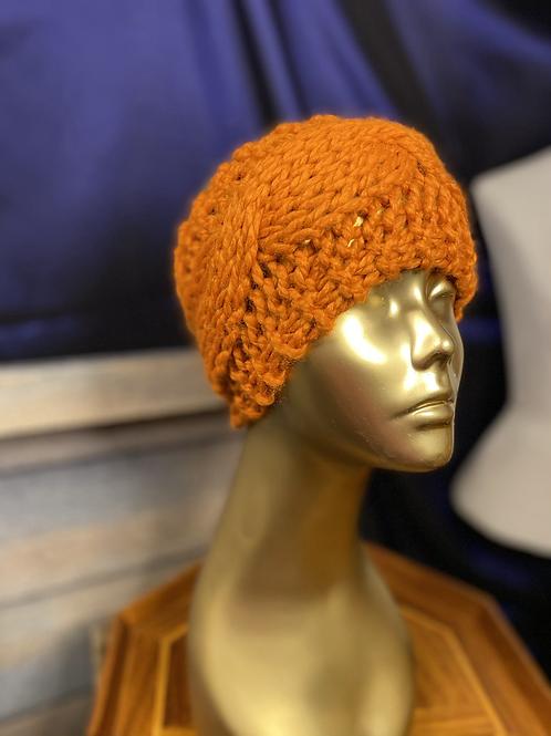 pumpkin cabled ear warmer (small )