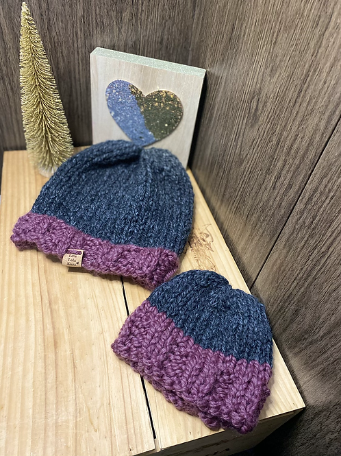 fig & charcoal slouchy adult/baby beanie set