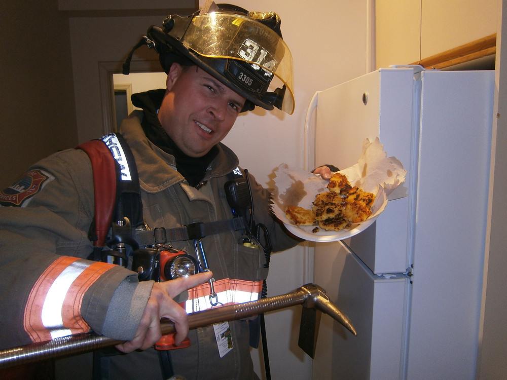 One of the firefighters decided to take a photo with my food for some reason. Photo by an unnamed firefighter.
