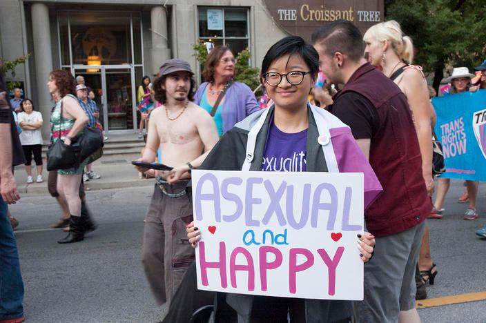 """ASEXUAL and HAPPY."" Photo via Imprint."